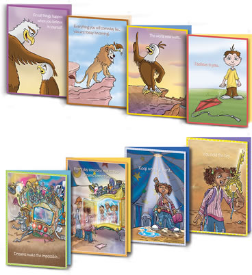 Photo of all 8 greeting cards in the Growing Field set